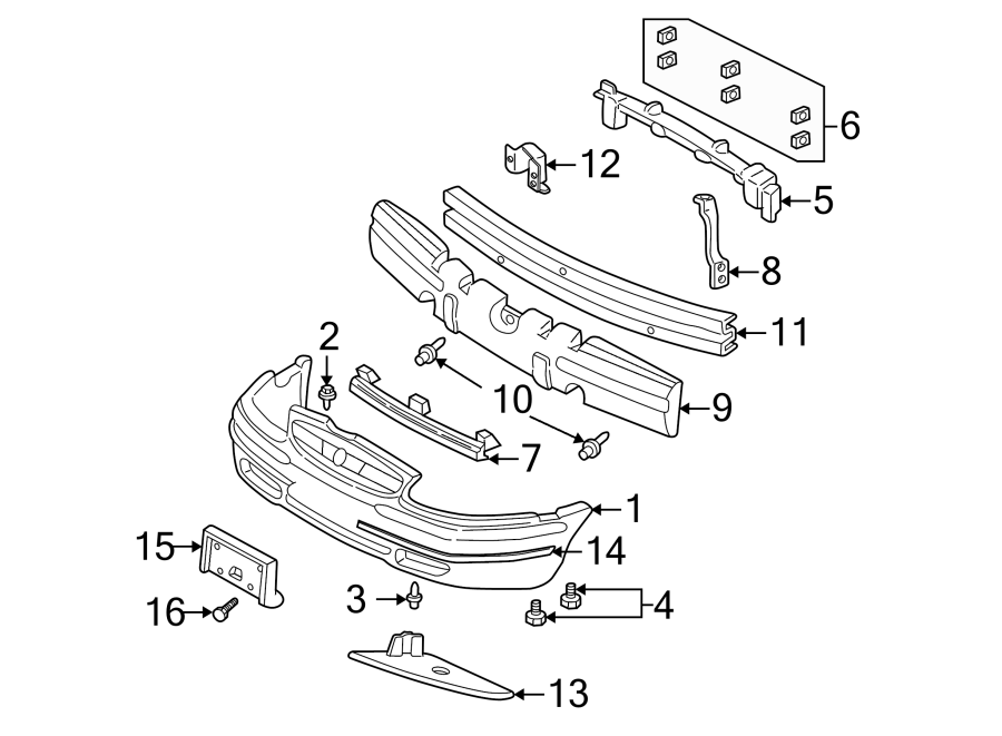 Buick Century Bumper Cover Support Rail  Front  Upper