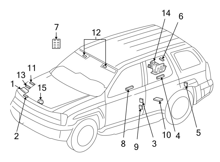 Buick Rainier Label  Battery  Caution  Engine Decal  Info