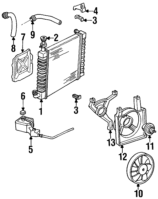 Chevrolet Cavalier Engine Cooling Fan Motor  Liter  Right