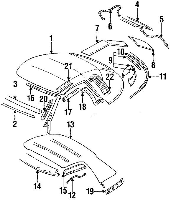 Pontiac Firebird Convertible Top Seal  Rear  Upper   Rear