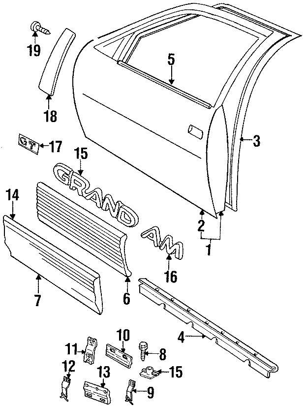 Pontiac Grand Am Belt Molding  Belt Weatherstrip  S  Str