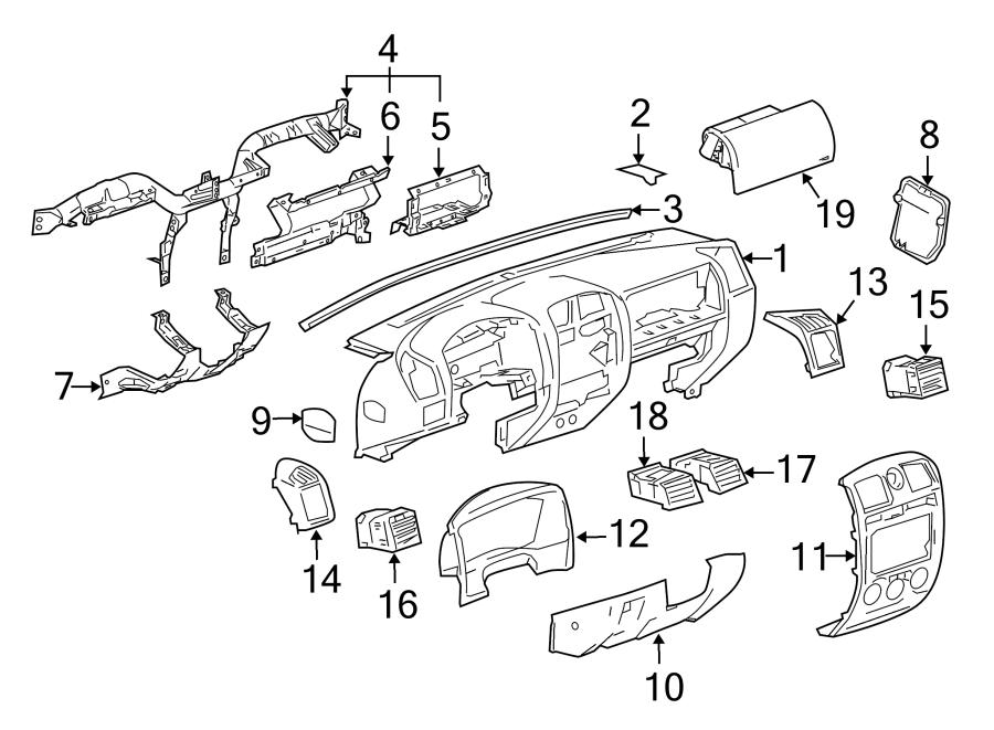 Chevrolet Colorado Panel  Bracket  Bolster  Knee Bolster