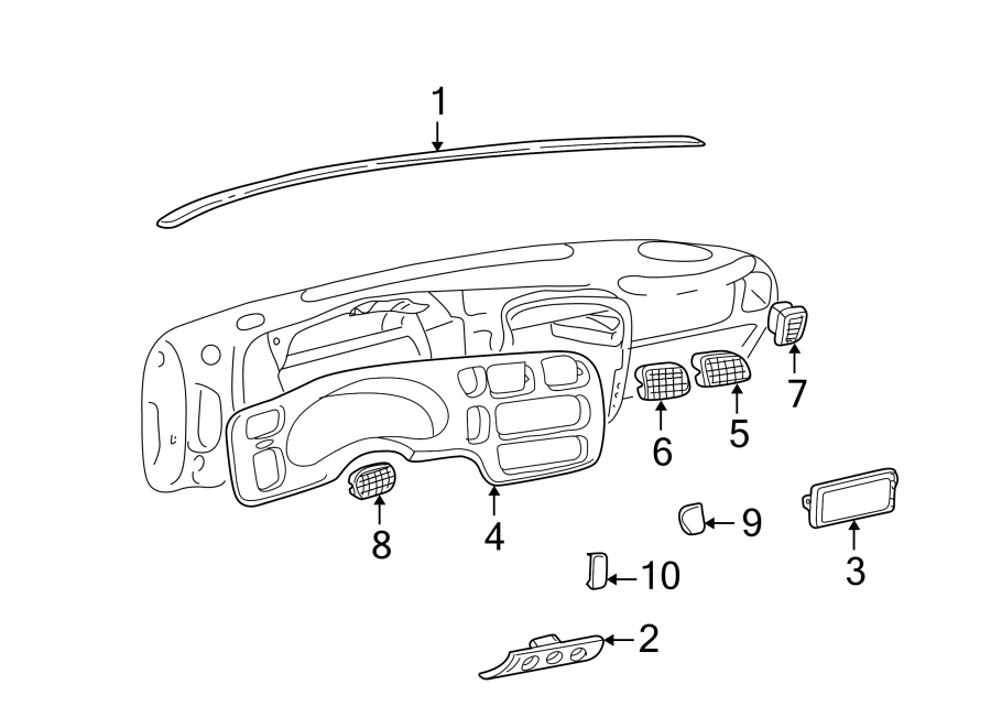 Chevrolet S10 Instrument  Bezel  Cluster  Panel  Trim  Plate  I  P