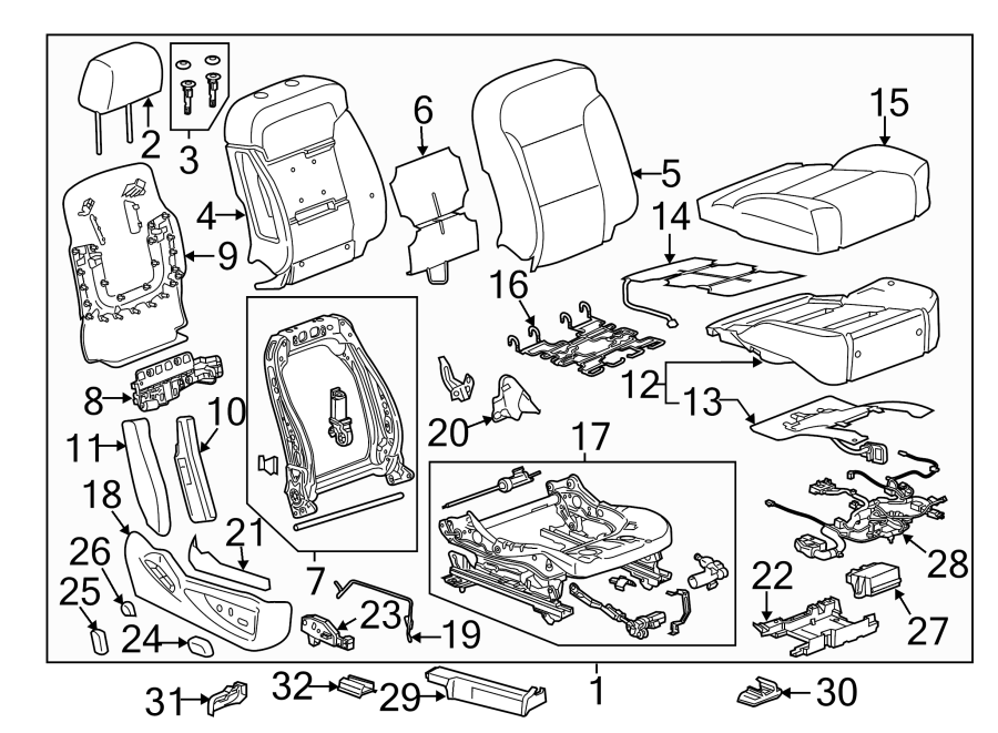 Chevrolet Silverado 1500 Power Seat Wiring Harness  Bucket Seat  W  O Ventillated Seat  W  10