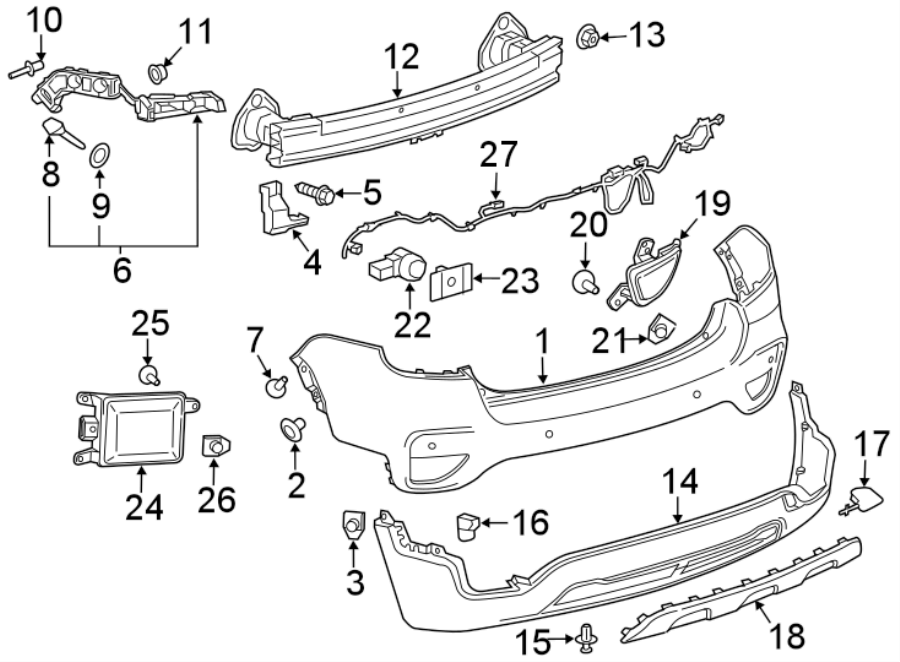 Chevrolet Trax Parking Aid System Wiring Harness  2017-20  W  Reverse Sensor  Labeled