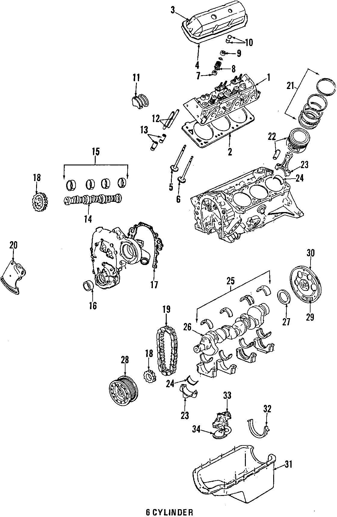 chevrolet cavalier engine oil pan gasket  rear   2 8l