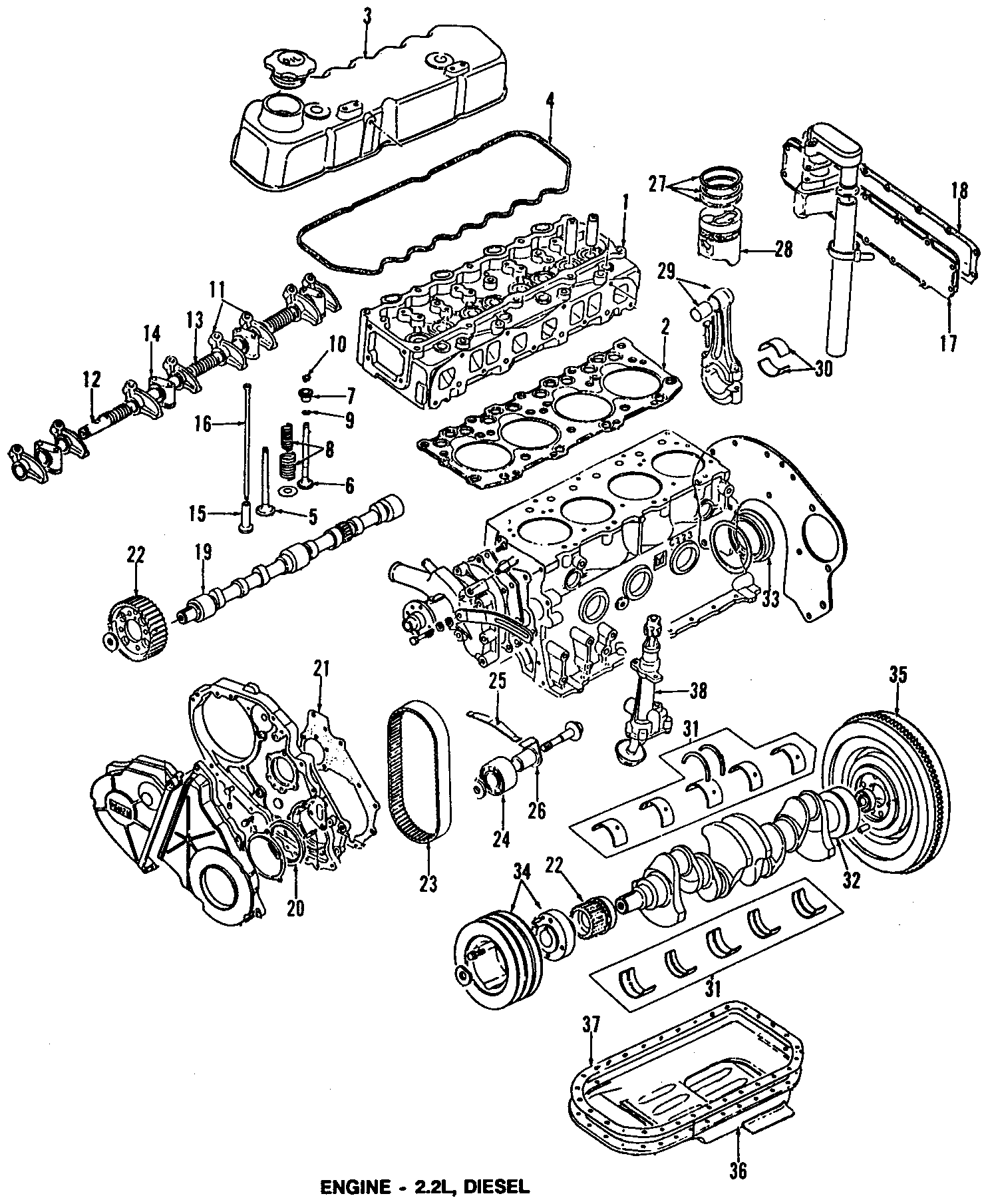 Chevrolet S10 Engine Timing Cover Gasket  2 2 Liter Diesel